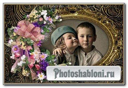 Vintage Frame for Photoshop - Diverse flower