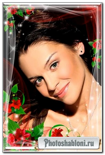 Рамка для фото-Красная вуаль и россыпь цветов