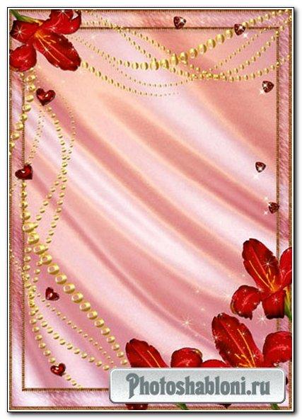 Рамка для фото - Красные лилии