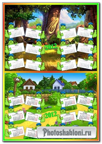 Calendar template for kids - Calendar in English and Russian language 1.