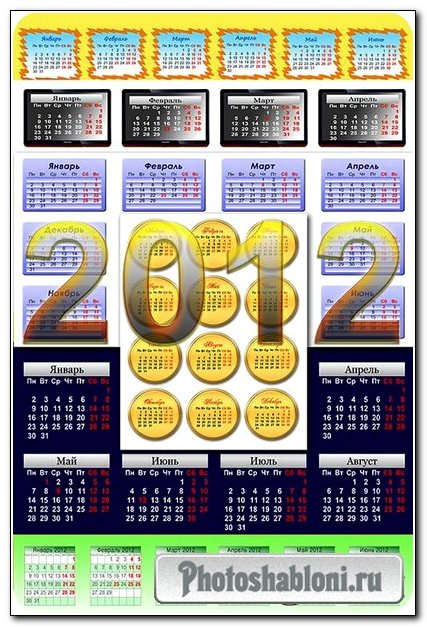 10 календарных сеток на 2012 год / 10 calendar grids for 2012