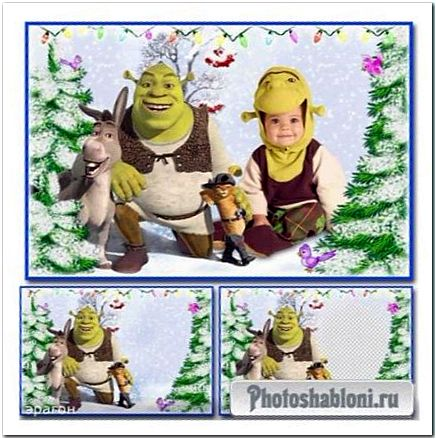 Детский коллаж и рамка для фотошопа - Зимнее приключение со Шреком
