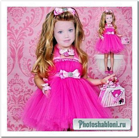 Детский шаблон - Принцесса в ярком розовом платье