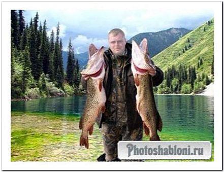 Мужской шаблон для фотомонтажа - Крутой рыбак, крутой улов
