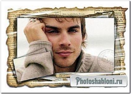 Мужская рамка для фотошоп - Газетные новости