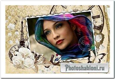 Рамка в винтажном стиле с белыми розами - Париж