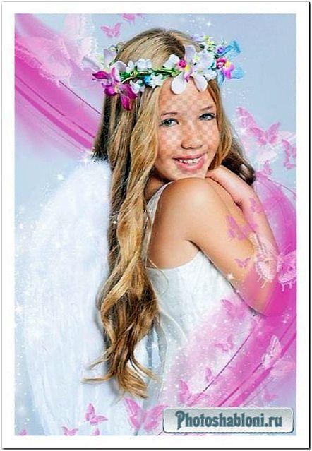 Детский шаблон для фотомонтажа - Девочка с крыльями ангела и цветочным венком на голове