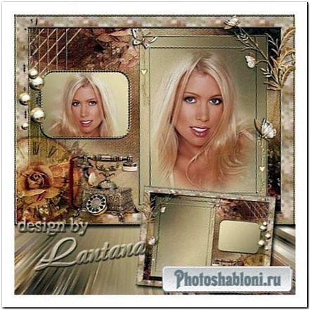 Рамка для фото в стиле ретро - Роза, телефон и золотая бабочка