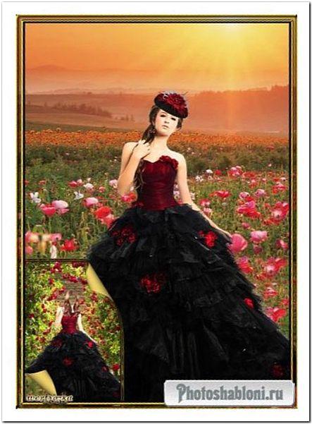 Многослойный женский psd шаблон - Девушка в шикарном черном платье с красными маками