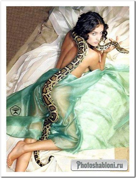 Женский шаблон для фотошопа - Девушка и змея