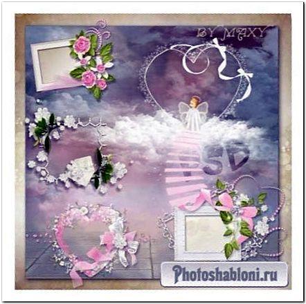Рамки вырезы, кластеры для дизайна ко Дню Влюбленых - Розовые цветы, ангелы и облака