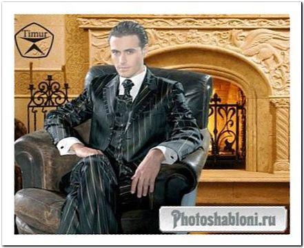 Мужской шаблон для фотошопа - Приятный отдых у камина