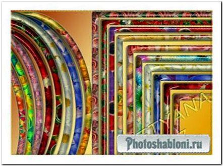 Цветочные вырезы для рамок овальной и прямоугольной формы psd