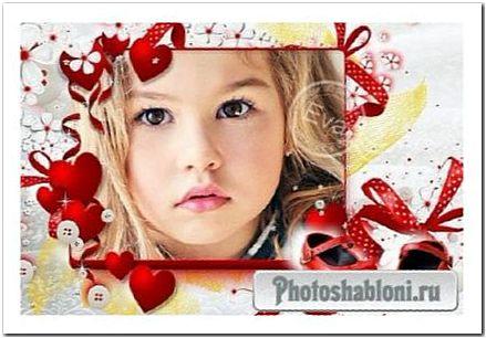 Детская рамка для фотошопа - Красные туфельки