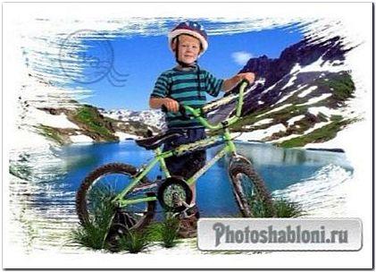 Детский шааблон для фото - Мальчик с велосипедом