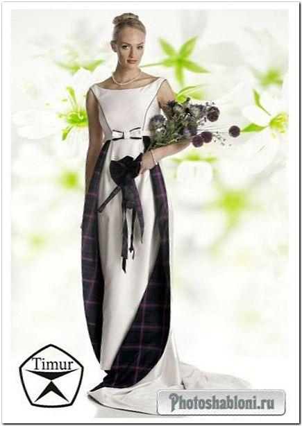 Женский шаблон для фотомонтажа - Блондинка с цветами