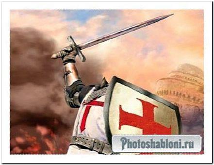 Шаблон для фотошопа - Рыцарь в латах в сражении