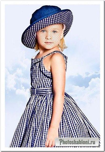 Детский шаблон для photoshop - Девочка в синем платье в клетку и шляпке