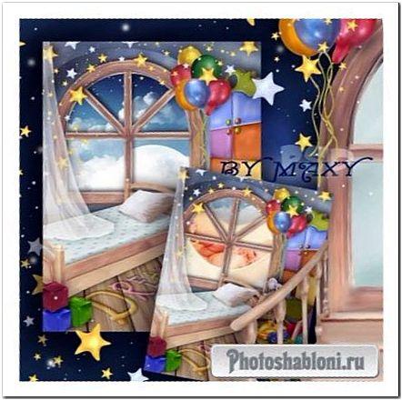 Фоторамка для малышей - Детская комната для малыша, кроватка, игрушки, сон