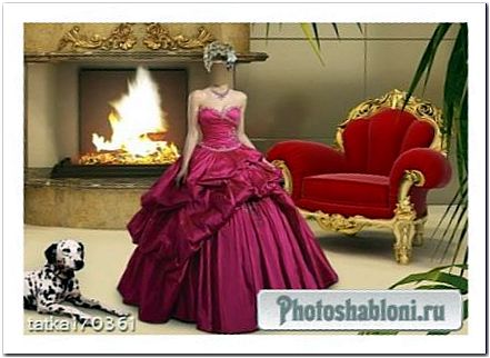 Женский шаблон для фотомонтажа - Девушка в малиновом платье с собакой