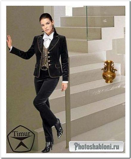 Женский шаблон для фотошопа - Роскошный женский костюм