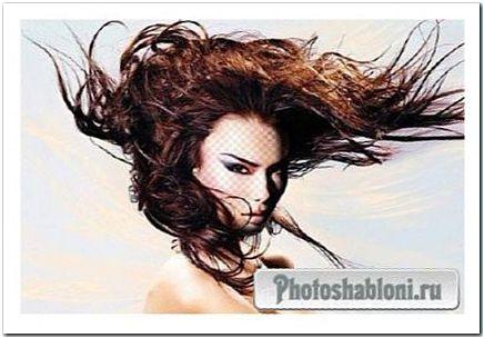 Женский шаблон для фотомонтажа - Ветер