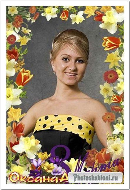 Рамка для фото с тюльпанами, нарциссами и мимозой - Весенние цветы