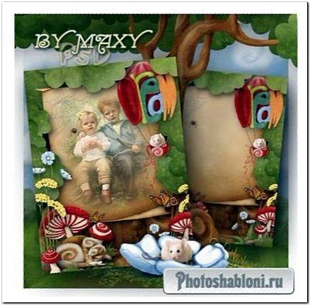 Детская рамка для фото - Кот в мухоморах и мышка на воздушном шаре