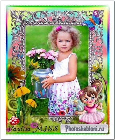 Детская фоторамка для девочки с подсолнухами, бабочками и феей - Маленькая фея