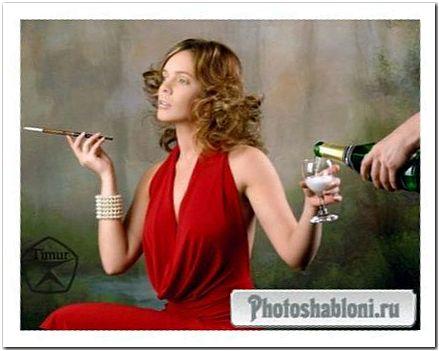 Женский шаблон для фотомонтажа - Леди в красном с сигарой и бокалом шампанского