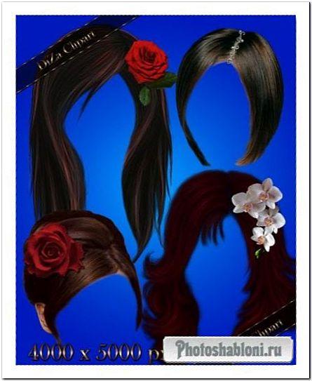 Женские прически с украшениями и цветами - шаблоны Photoshop