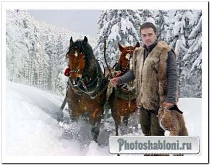 Мужской шаблон для фотошонтажа - Зимний лес, кони, охота