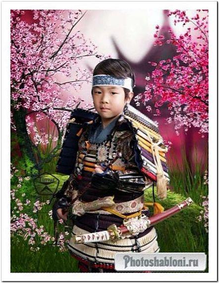 Детский шаблон для фотошопа - Юный Самурай