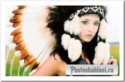 Шаблон для фото - Нежная девушка с перьями