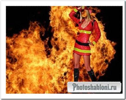 В пожарной форме - шаблон для фотошопа