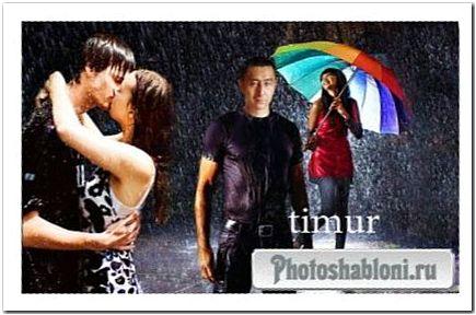 Мужской шаблон для фотошопа - Влюбленный дождь