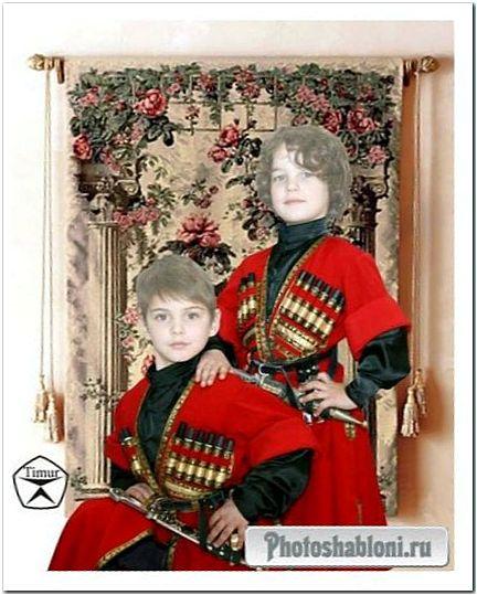 Детский шаблон для фотомонтажа - Братья джигиты