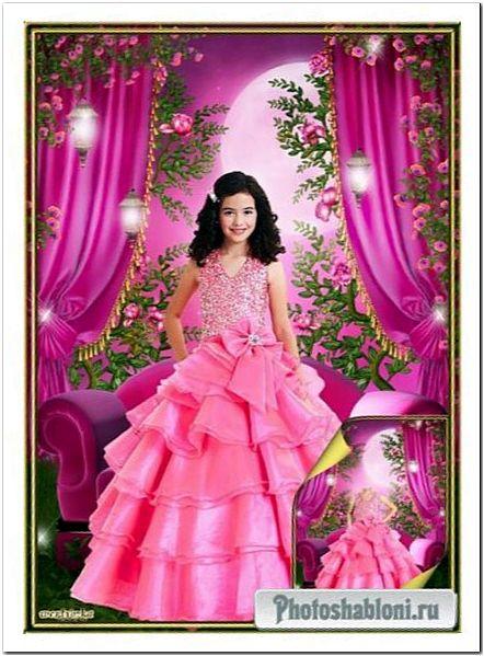 Многослойный детский psd шаблон - Очаровательная маленькая принцесса в пышном розовом платье