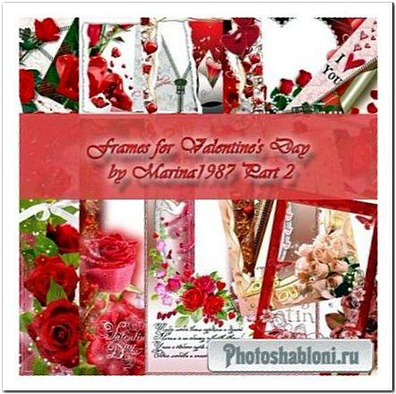 Романтические фоторамки на День Валентина - Любовь, сердца и розы