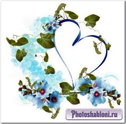 Рамки в форме сердца, сердечки кластеры с цветами - клипарт для скрапбукинга и коллажей