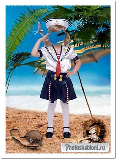 Шаблон для фотошопа - Маленькая морячка