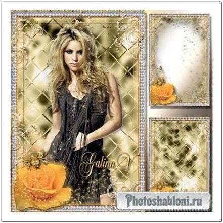 Гламурная рамка - Роза и золотой жук