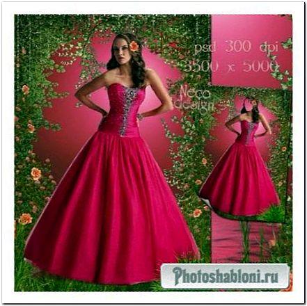 Женский фотошаблон - В бальном розовом платье в розовом саду