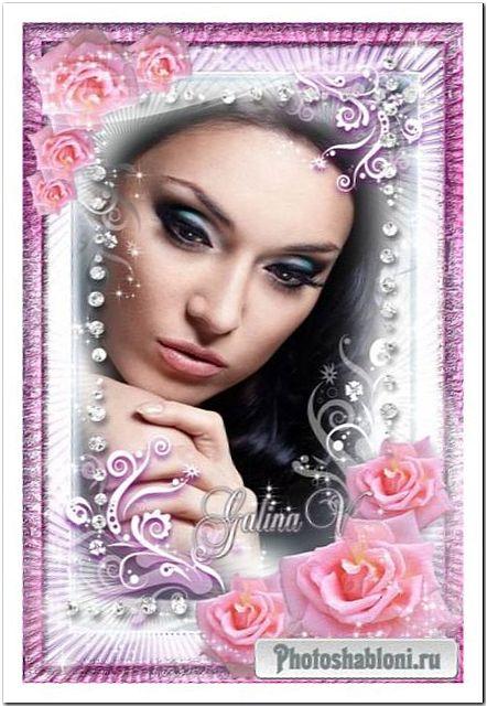 Роскошная цветочная рамка Сияющие розовые розы