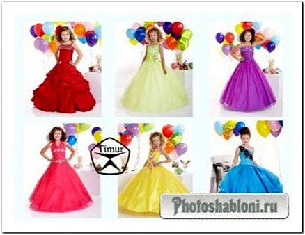 Детские шаблоны для фотомонтажа - Девочки в красивых платьях