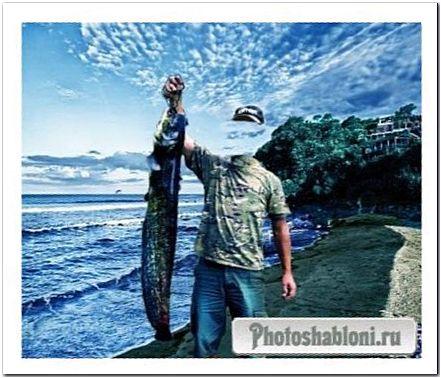 Шаблон мужской - рыбак с уловом