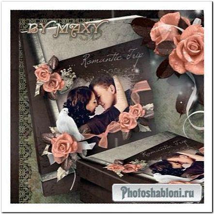 Фотокнига для влюбленных - Оранжевые розы в росе на винтажном фоне
