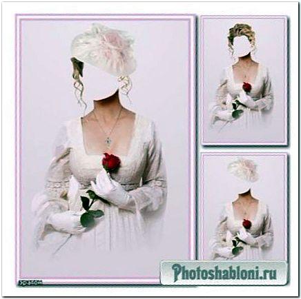 Женский шаблон для фотошопа - Дама в белом с красной розой