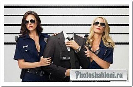 Шаблон для фотомонтажа - Задержанный двумя полицейскими