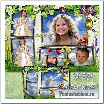 Весенняя рамка-коллаж на 5 фотографий - Весенняя свежесть